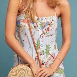 Anthropologie Maeve silk  Italy map tank